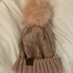 Pink and gold beanie